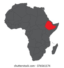 Map of Africa on gray with red Ethiopia vector