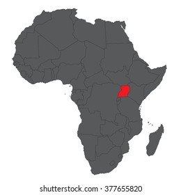 Map of Africa on gray with red Uganda vector