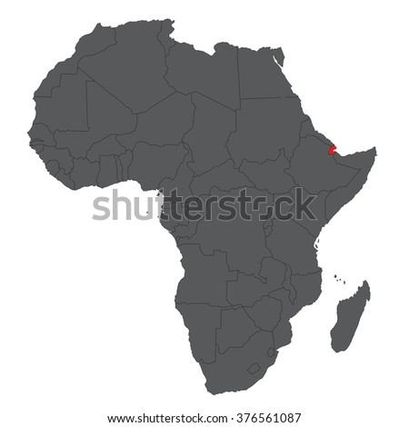 Map Of Africa Djibouti.Map Africa On Gray Red Djibouti Stock Vector Royalty Free