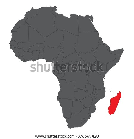 Map Africa On Gray Red Madagascar Stock Vector Royalty Free