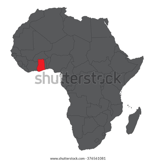 Map Of Africa With Ghana.Map Africa On Gray Red Ghana Stock Vector Royalty Free