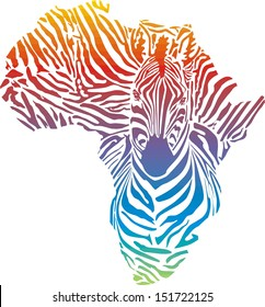 Map of Africa in rainbow zebra camouflage