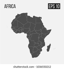 map of Africa with regions EPS 10