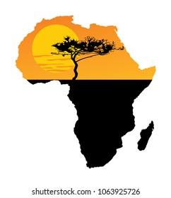 Map of Africa. Safari sunset. Savanna acacia tree. Travel invitation card for Africa nature.