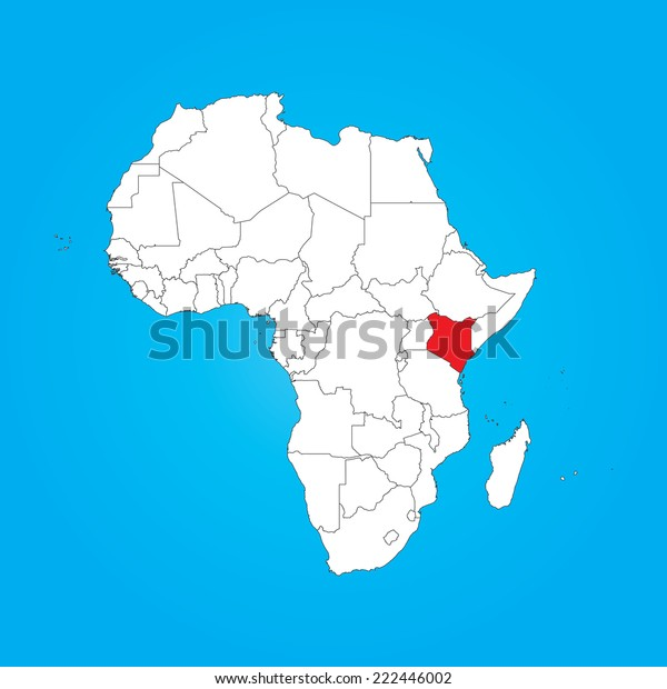 Map Africa Selected Country Kenya Stock Vector (Royalty Free ...