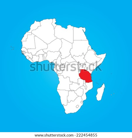 Tanzania On A Map Of Africa.Map Africa Selected Country Tanzania Stock Vector Royalty Free