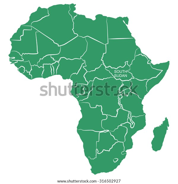 Africa Map With South Sudan.Map Africa South Sudan Stock Image Download Now