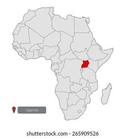 Map of Africa. Uganda