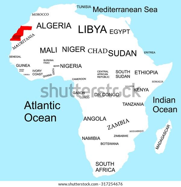 Map Of Africa Sahara.Map Africa Western Sahara Stock Vector Royalty Free 317254676