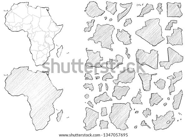 Map Africa Written Crayons Stock Vector (Royalty Free) 1347057695