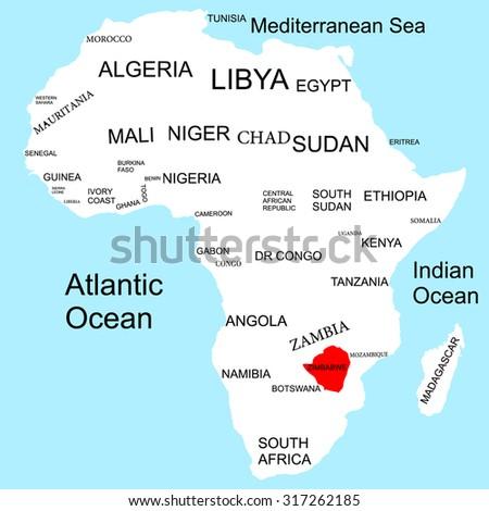 Map Of Africa Zimbabwe.Map Africa Zimbabwe Stock Vector Royalty Free 317262185 Shutterstock