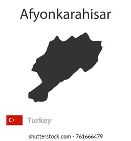 Map of Afyonkarahisar and the flag of Turkey. Vector illustration.