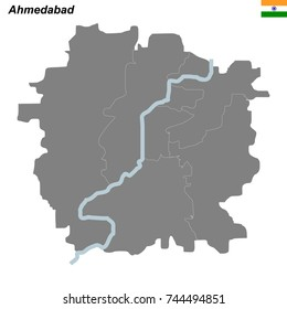 map of Ahmedabad city with borders of the districts