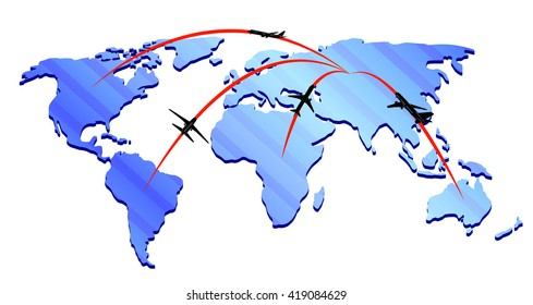 Map airlines logo with silhouettes of planes