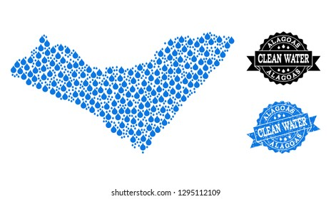 Map of Alagoas State vector mosaic and clean water grunge stamp. Map of Alagoas State composed with blue liquid raindrops. Seal with distress rubber texture for clean drinking water.