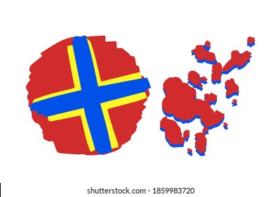 Map of Aland Islands. Scandinavian flag with a cross. Yellow blue red national symbol. Travel to Northern Europe.