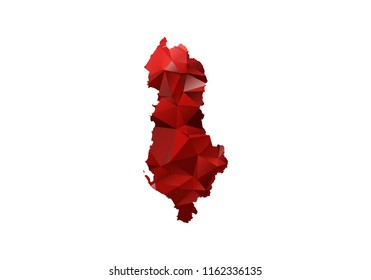 Map of albania - Red Geometric Rumpled Triangular. Low poly map of albania. contour/shape map isolated on white background. vector illustration.