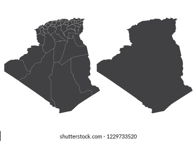 Map - Algeria Couple Set , Map of  Algeria,Vector illustration eps 10.