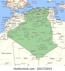 Map of Algeria. Shows country borders, place names and roads. Labels in English where possible.Projection: Mercator.