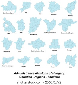 Map of all regions and counties of Hungary.