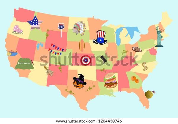 Map Of America Hollywood.Map America Sings Symbols Vector Illustration Stock Vector Royalty
