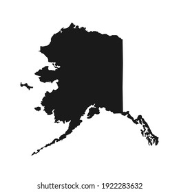 Map of the American state of Alaska simple black map