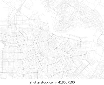 Map of Amsterdam, satellite view, streets and highways, Netherlands