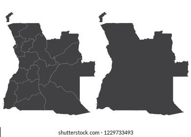 Map - Angola Couple Set , Map of  Angola,Vector illustration eps 10.