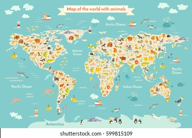 World Map Vector Illustration Inscription Oceans Stock Vector ...