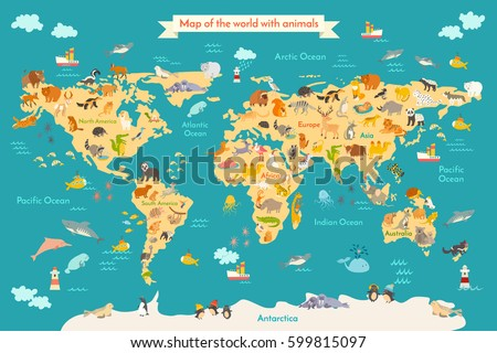 Map Animal Kid Continent World Animated Stock Vector (Royalty Free ...