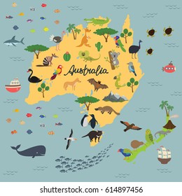 Australia cartoon travel map vector illustrationlandmark vectores en funny cartoon world map map of animal kingdom of australia and new zealand gumiabroncs Image collections