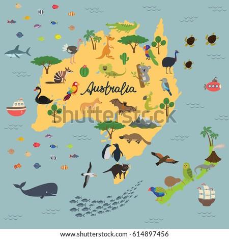 Map Animal Kingdom Australia New Zealand Stock Vector Royalty Free