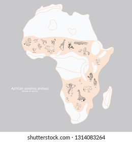 Map of Animals of African Savannah. Elephant, giraffe, zebra, lion. Vector illustration isolated on background. Poster, print