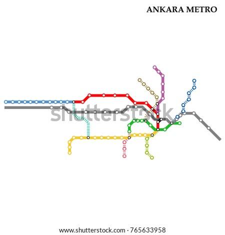 Map Ankara Metro Subway Template City Stock Vector Royalty Free