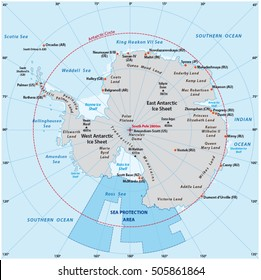 Map of the Antarctic with the new sea protection area in the Ross Sea