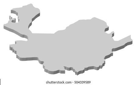 Map - Antioquia (Colombia) - 3D-Illustration