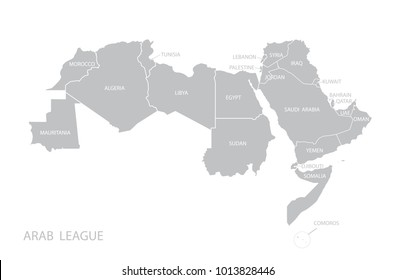 Map of Arab League. Vector