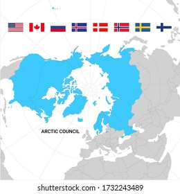 Map of Arctic council countries and flags