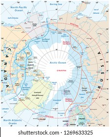 Map of the Arctic region, the northwest passage and the northern sea route