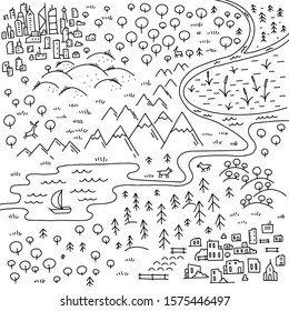 Map of the area. Cartoon city, mountains river and village. Forest hills and sea. Hand drawn sketch vector and black line outline contour.