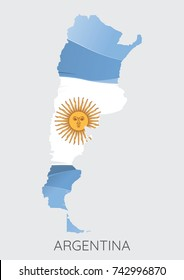Map Of Argentina With Flag As Texture Isolated On Grey Background. Vector Illustration