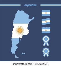 Map of argentina with flags and cockade ribbon, flat vector illustration
