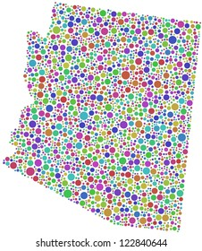 Map of Arizona (USA) in a mosaic of harlequin bubbles