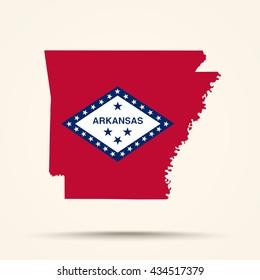 Map of Arkansas in Arkansas flag colors