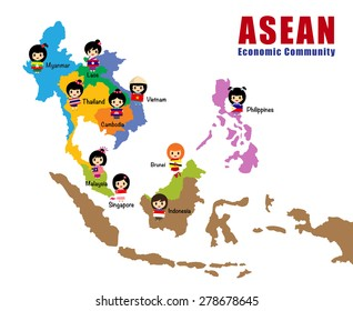 Map of asean, asia, south east asia, AEC