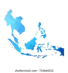 Map of Asean - Blue Geometric Rumpled Triangular , Polygonal Design For Your . Vector illustration eps 10.