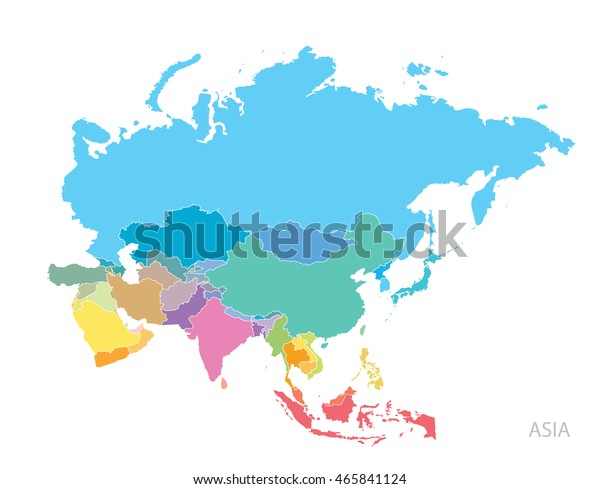 Map Of Asia Continent.Map Asia Continent Stock Vector Royalty Free 465841124
