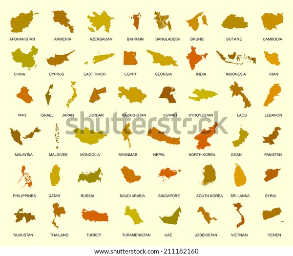 Big Map Of Asia.Map Asia Country Big Vector Set Stock Vector Royalty Free 211182160