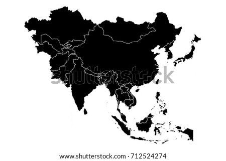Map Asia High Detailed Black Map Stock Vector (Royalty Free