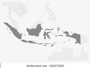 Map of Asia with highlighted Indonesia map, gray map of Indonesia with neighboring countries